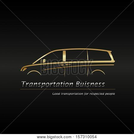 Business card template. Modern gold minivan in black background buisness logo. Vector illustration.