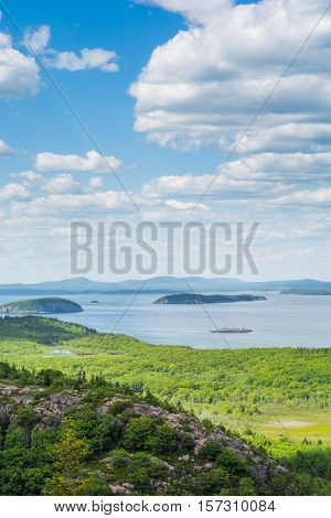 View from the Beehive trail in Acadia National Park looking towards the Atlantic Ocean Bar Harbor and the coast