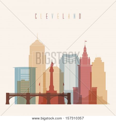 Cleveland skyline city multicolor silhouette. Colorful Building and City Urban cityscape Abstract City scene.