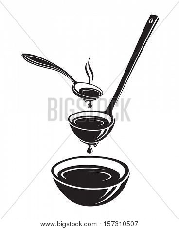 monochrome set of illustrations with spoon, soup ladle and dish