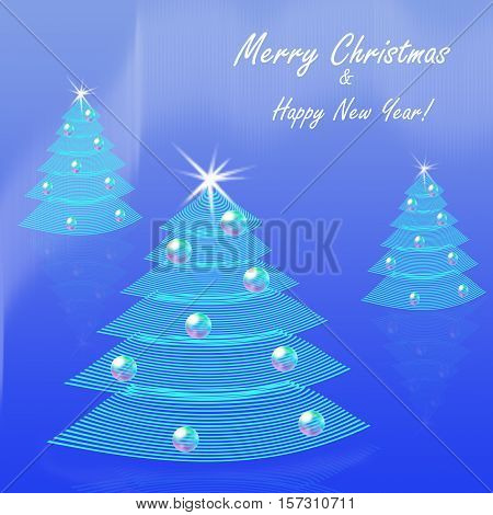 Blue Christmas background. Three stylised striped fir trees with star and Christmas balls decorated. Greetings postcard border or invitation