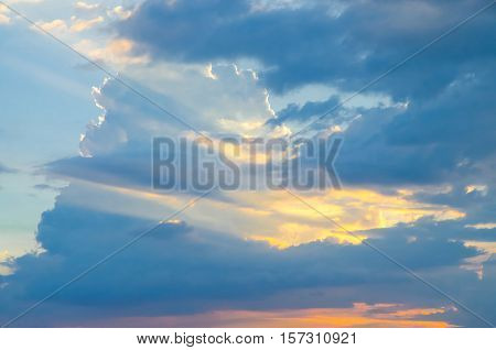 Blue sky with sunset light. Skyscape photo.