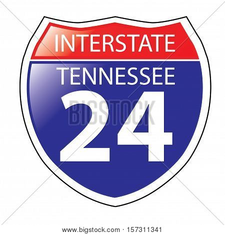 Layered artwork of Tennessee I-24 Interstate Sign