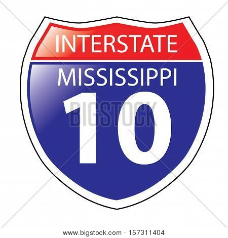 Layered artwork of Mississippi I-10 Interstate Sign