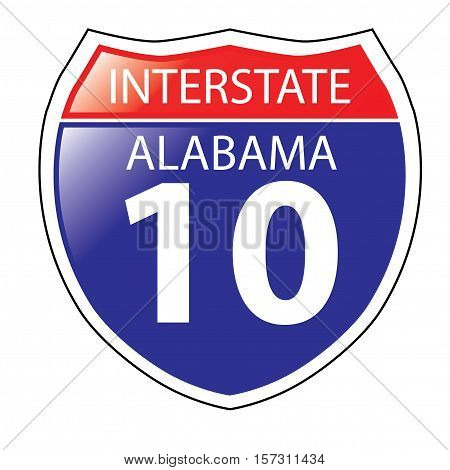 Layered artwork of Alabama I-10 Interstate Sign