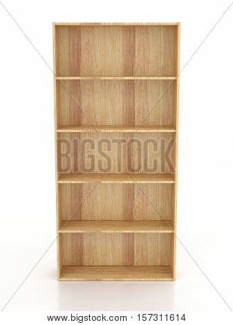 Empty Wooden Bookcase Isolated On White Background. Include Clipping Path