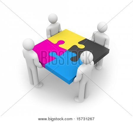 CMYK concept. Successful team