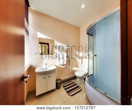 Big Bathroom With A Shower Cabin