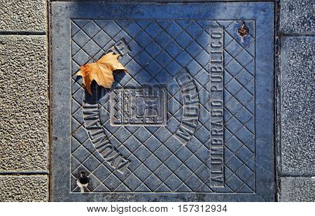 Manhole with yellow leaf  on the street of Madrid. On the sewer hatch coat of arms depicted in Madrid Madrid City Hall and the inscription, street lighting