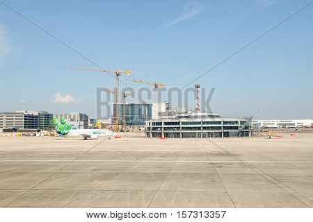 BRUSSELS, BELGIUM - MAY 13, 2016: Brussels International Airport terminal under construction after terrorist attack on March 22,2016