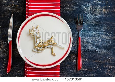Rustic Table Setting For Christmas Eve