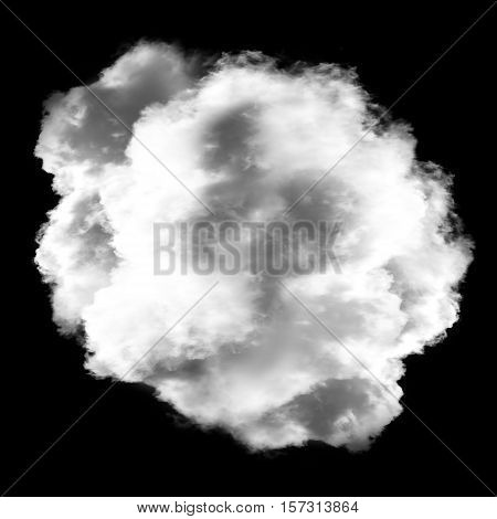 Single white cloud isolated over black background 3D rendering illustration