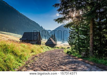 Stunning Valley In Tatra Mountains At Sunrise In Poland