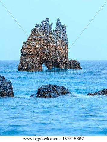 Seascape In Portizuelo Beach, Asturias, Spain.