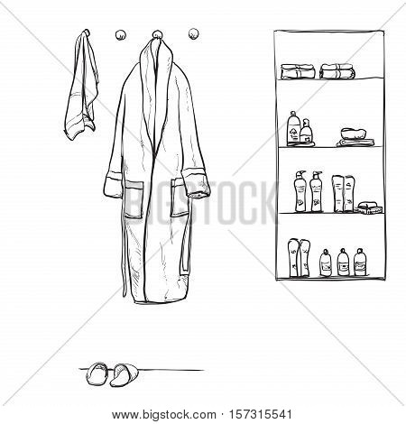 Robe for the shower, bathrobe, doodle style, sketch illustration. Hand drawn bathroon interior