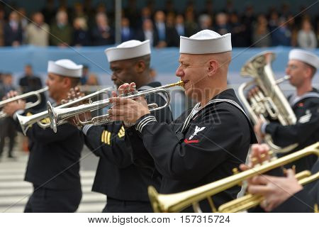 Buenos Aires, Argentina - Jul 11, 2016: Members of the US military band perform at the parade during celebrations of the bicentennial anniversary of Argentinean Independence day.