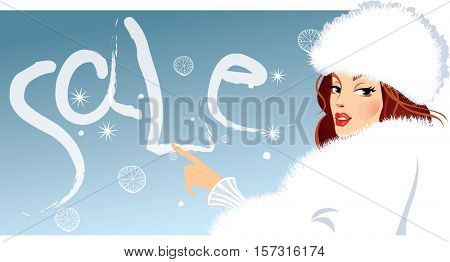 banner of fashionable girl in winter fluffy clothes , fashion female, woman beauty face