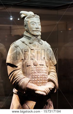 XI'AN SHAANXI PROVINCE CHINA - OCTOBER 28 2015: Sculpture of high-ranking officer of the Terracotta Army the Qin Shi Huang Mausoleum of the First Emperor of China.