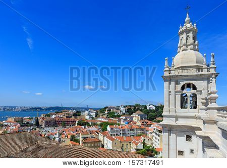Church Roof And Lisbon Cityscape, Portugal.