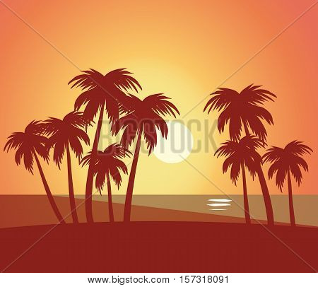 Beach summer lanscape natural scenic - Beach with trees lanscape sea scenery sunset scenery vector flat illustration stock