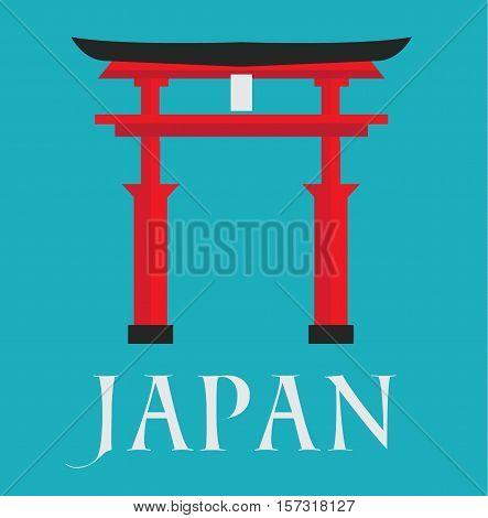 Japan gate card text flat design illustration background vector stock