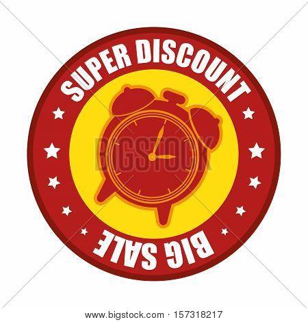 super discount big sale clock label evctor illustration eps 10