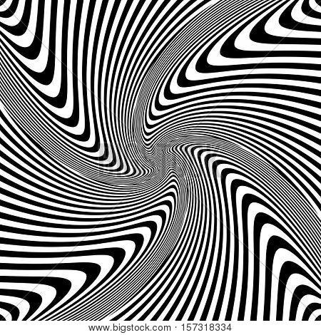 Torsion rotation vortex movement. Abstract op art design. Vector illustration.
