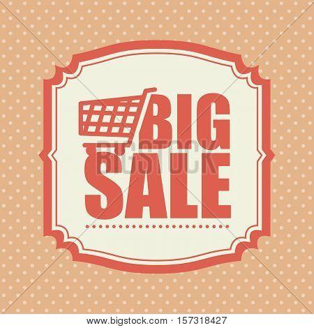 big sale shop cart polka dot vintage vector illustration eps 10