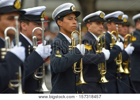 Buenos Aires, Argentina - Jul 11, 2016: Members of the Argentine military band at the parade during celebrations of the bicentennial anniversary of Argentinean Independence day.