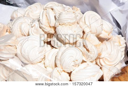 Marshmallow or zephyr cakes for sale in a market
