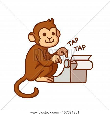 Monkey with typewriter humorous cartoon illustration. Cute vector drawing.