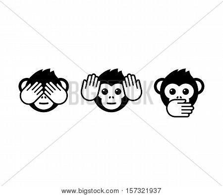 See no evil hear no evil speak no evil. Three wise monkeys vector icons.