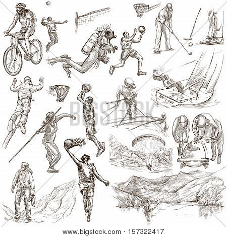 SPORTS. Sporting events around the World. Collection of an hand drawn illustrations. Set of full sized drawings on white background isolated. Cycling, Diving, Basketball, Bobsleigh (... and more)