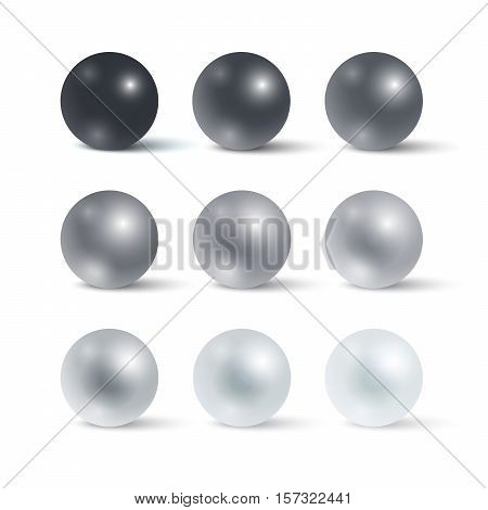 Set of realistic greyscale spheres. Gradation from black to white Vector illustration for your design.