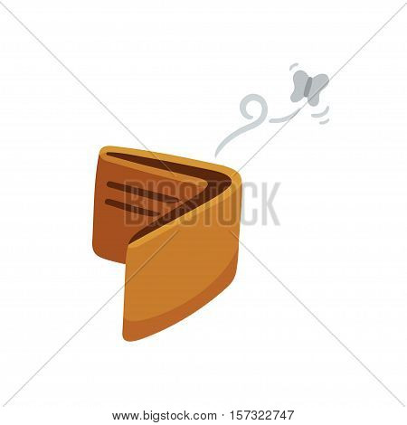 Cartoon empty wallet illustration with flying moth.