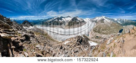 Panorama Of The Aletsch Glacier From Eggishorn