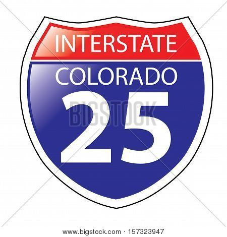 Layered artwork of Colorado I-25 Interstate Sign