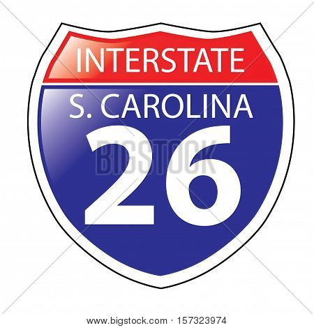Layered artwork of South Carolina I-26 Interstate Sign