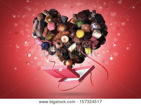 Box of chocolates and a heart made of sweets