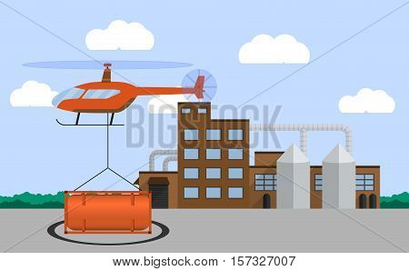 Helicopter carrying container. Air cargo transportation. Air transport cargo delivery concept. Flat style. Vector illustration.