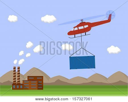 Helicopter carrying container. Air cargo transportation. Air transport cargo delivery. Flat style. Vector illustration.