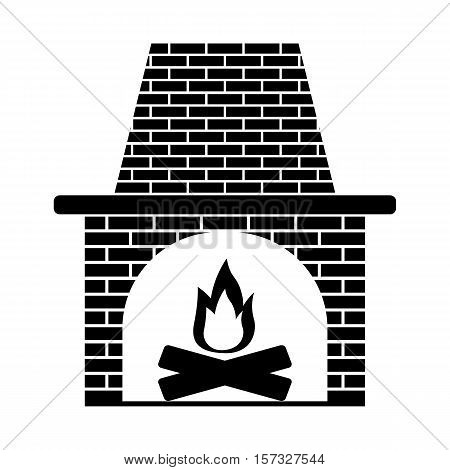 fireplace icon stock vector illustration flat design