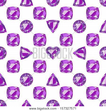 Seamless pattern with violet precious gem Amethyst in different cuts on white background. Vector illustration