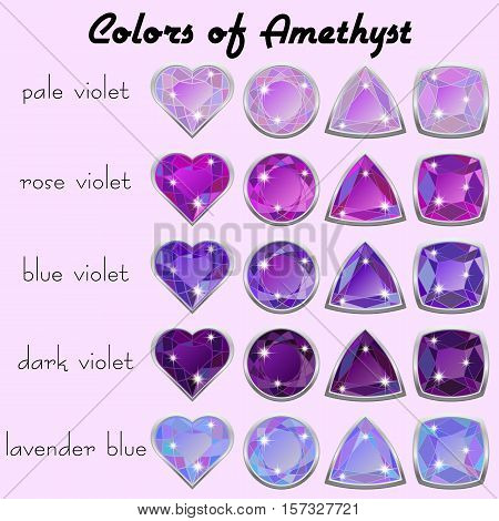 Set of crystals in natural tints of violet color of precious stone Amethyst in realistic different cuts with silver edging. Vector illustration