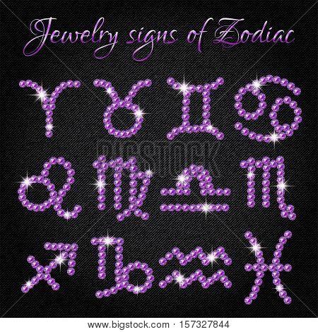 Set of shining jewelry icons with signs of Zodiac on black denim background. Symbols of zodiac horoscope. Vector illustration