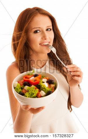 Healthy Eating  - Woman Eats A Bowl Of Greek Salad Isolated Over White Background - Vegetarian Meal