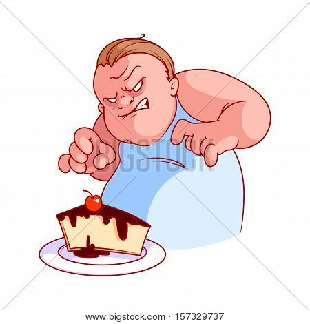 Very hungry and evil fat man with cheesecake. Vector illustration on a white background.