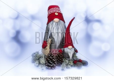 Christmas decoration on abstract white and blue background