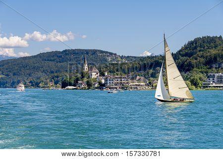 Vintage Wooden Sailboat On Lake Worthersee At Maria Worth