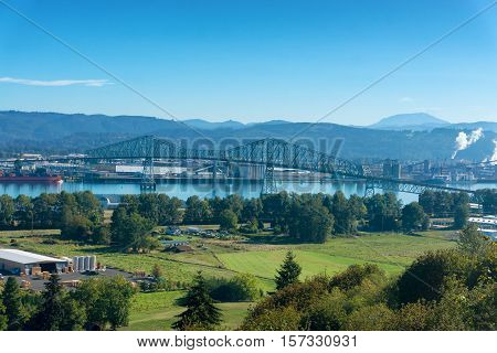 Lewis and Clark Bridge over the Columbia River connecting Rainier Oregon and Longview Washington